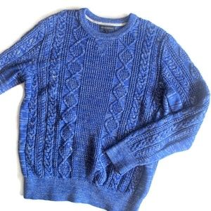 Banana Republic Blue Cable Knit Sweater ~ Mens XL